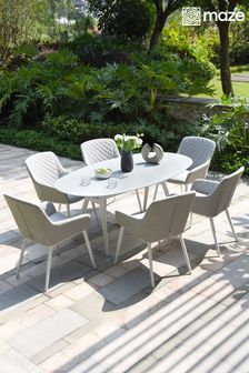 Zest 6 Seat Oval Dining Set / Lead Chine By Maze Rattan