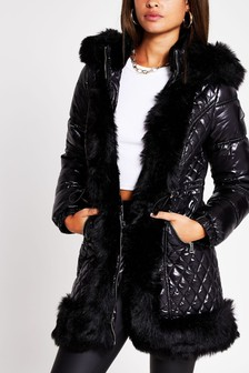 River Island Black Faux Fur Hem Padded Jacket