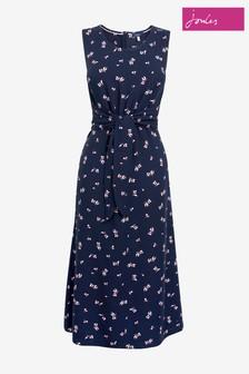 Joules Blue Amaris Woven Tie Knot Dress