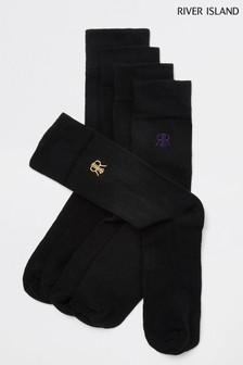River Island Logo Socks Five Pack