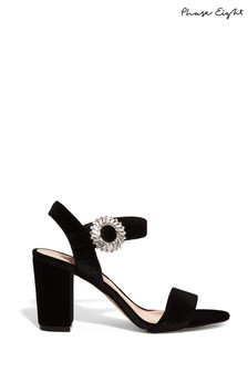 Phase Eight Black Cat Jewel Velvet Block Sandals