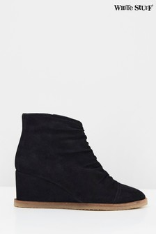 White Stuff Black Ruched Shoe Boots