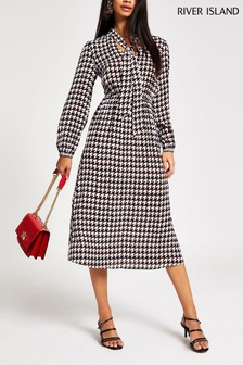 River Island Dogtooth Harriet Midi Dress