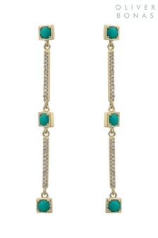 Oliver Bonas Gold Plated Zaria Square Drop Earrings