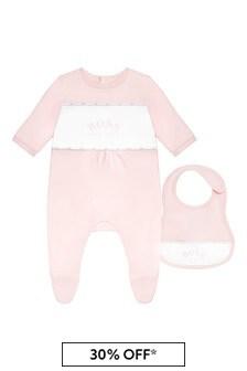 BOSS Baby Girls Pink Cotton Babygrow