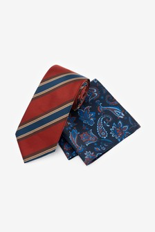 Stripe Tie With Paisley Pocket Square