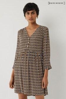 Warehouse Black Geo Print Mini Dress