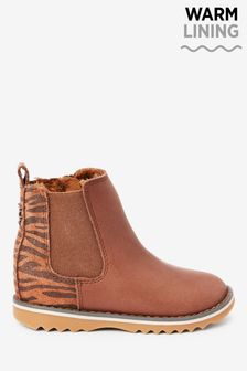 Warm Lined Leather Chelsea Boots (Younger)