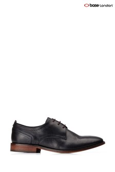 Base London® Black Hammond Burnished Lace-Up Shoes
