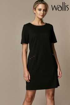 Wallis Black Petite Stud Ponte Shift Dress