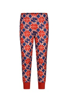 GUCCI Kids Girls Navy And Red Technical Jersey Joggers