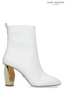 Kurt Geiger Ladies Daxon Cream Leather Boots