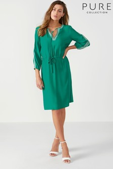 Pure Collection Green Open V-Neck Dress