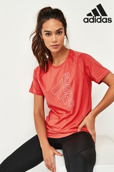 adidas Red Tech Badge Of Sport T-Shirt