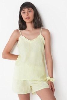 Cotton Pyjama Short Set With Scrunchie