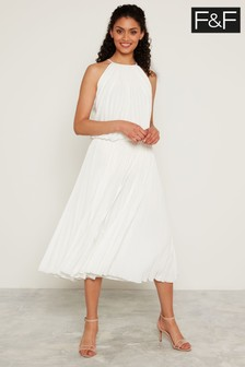 F&F White Wow Pleated Dress