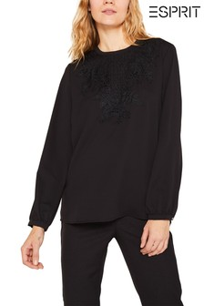 Esprit Black Long Sleeved Crepe Blouse With Lace Details