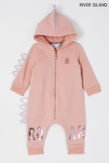 River Island Light Pink Dino All In One