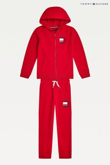 Tommy Hilfiger Red Global Stripe Hoodie Tracksuit Set