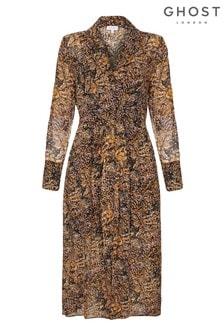 فستان جورجيت مطبوع Eoise Snake بني من Ghost London