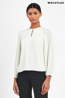 Whistles Ivory Gathered Shoulder Recycled Polyester Blouse