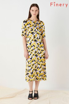 Finery London Yellow Libby Printed Satin Cloudy Dress