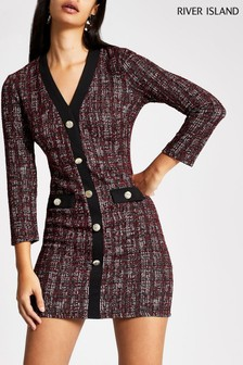 River Island Bond Bouclé Cardigan Dress