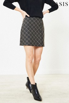Oasis Grey Check Mini Skirt