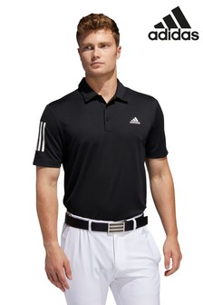 adidas Golf Black 3 Stripe Polo