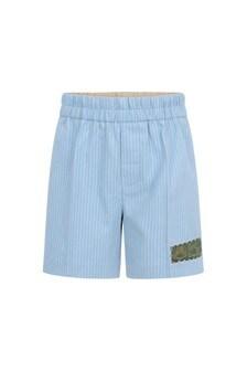 Baby Boys Light Blue Cotton Striped Shorts