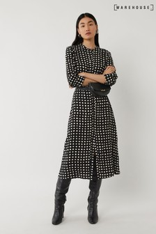 Warehouse Mono Square Midi Shirt Dress