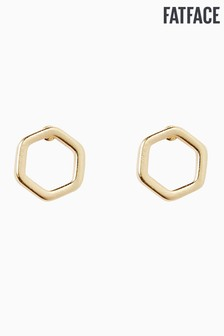 FatFace Gold Tone Mini Hexagon Studs
