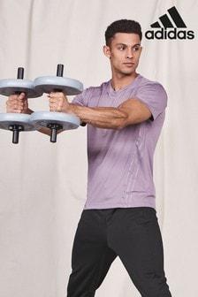 adidas Purple Aeroadapt 3 Stripe T-Shirt