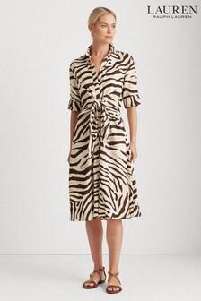 Lauren Ralph Lauren® Zebra Print Wakana Tie Waist Shirt Dress