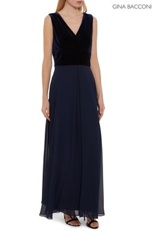 Gina Bacconi Blue Eartha Velvet And Chiffon Dress