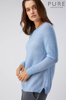 Pure Collection Blue Organic Cashmere Soft Textured Sweater