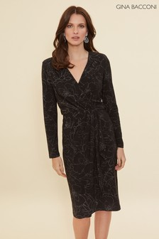 Gina Bacconi Black Lonnie Floral Metallic Wrap Dress