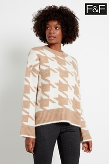 F&F Multi Brown Houndstooth Jumper