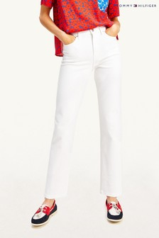 Tommy Hilfiger White Straight High Waisted Denim Jeans