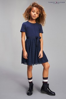 Tommy Hilfiger Blue Belted Fit And Flare Dress