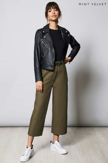 Mint Velvet Khaki Clean Cropped Trousers