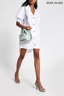 River Island White Puff Sleeve Shirt Mini Dress