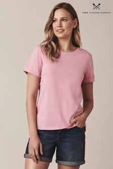 Crew Clothing Pink Slub Cotton T-Shirt
