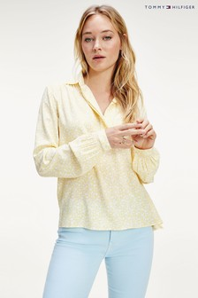 Tommy Hilfiger Yellow Danee Half Placket Blouse