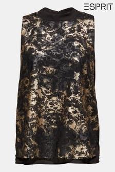 Esprit Black Sleeveless Plumetti Woven Blouse