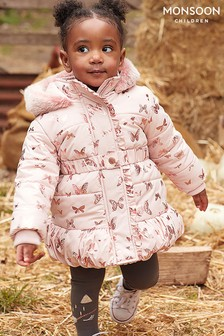 Monsoon Children Pink Baby Flutter Padded Coat