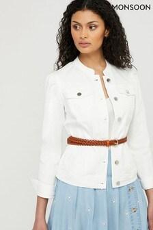 Monsoon White Fern Denim Jacket