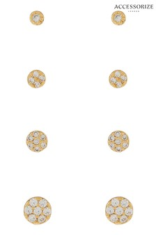 Accessorize Clear Z Pave Stud Set