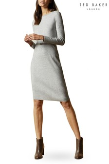 Ted Baker Gjessi Long Sleeve Ribbed Knitted Midi Dress