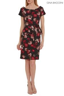 Gina Bacconi Red Glorielle Floral Scuba Dress